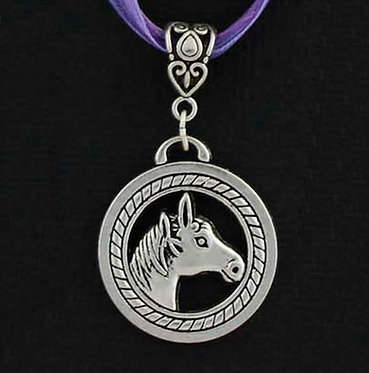 Lavander Horse in circle ribbon necklace front closeup view
