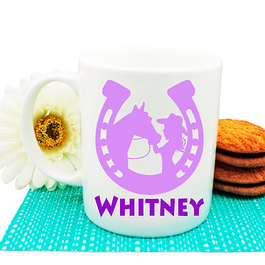 Personalised ceramic coffee mug horse and girl purple image front view