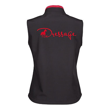 Ladies dressage vest soft shell black with red accents and fleece lining with red horse image back view
