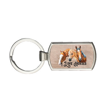 Rectangle metal key-ring I love horses image front view