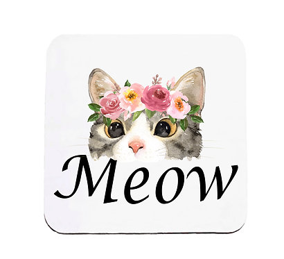 Neoprene drink coaster cat meow image front view