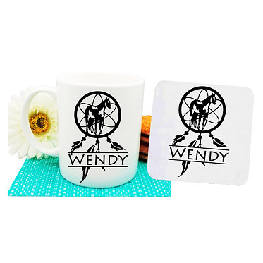 Personalised ceramic coffee mug and coaster set paint horse dream catcher front view