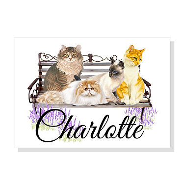 Rectangle A4 art print on card stock personalized with cats on bench image front view