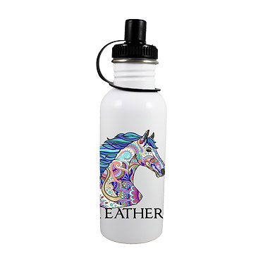 Personalised stainless steel water bottle painted horse image front view