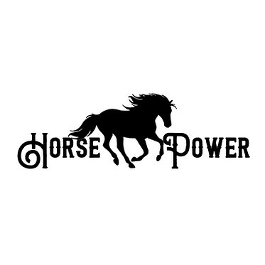 Horse power vinyl decal sticker in black front view