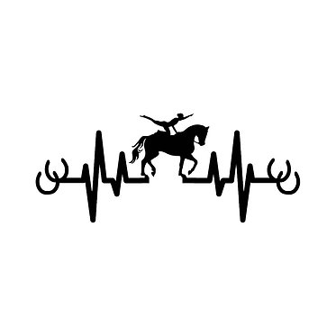 Vaulting horse and rider in heart beat vinyl decal sticker front view