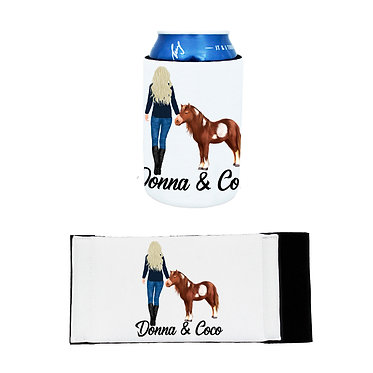 Personalised neoprene stubby cooler blond haired girl and mini pony image front and flat view