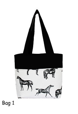 Horse theme tote bag 25 x 35cm front view