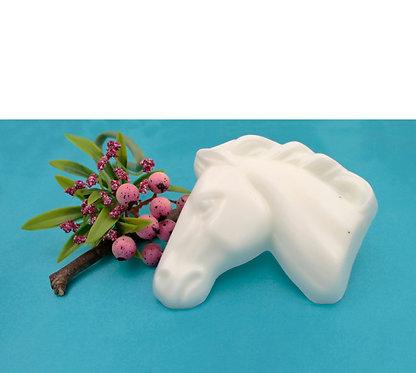 White horse head shape goats milk soap front view