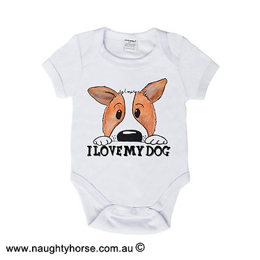 "Baby romper play suit white with dog and quote ""I love my dog"" image front view"