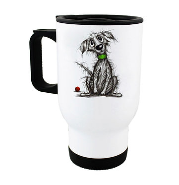 Dog themed insulated travel mug with beautiful scruffy dog image front view