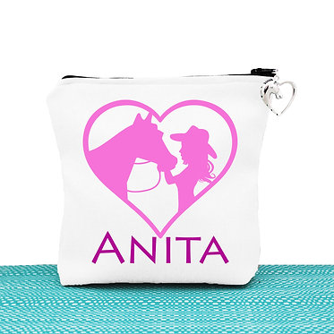 White cosmetic toiletry bag with zipper personalised girl and horse in heart hot pink image front view