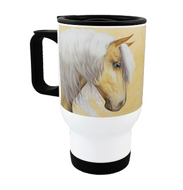 Travel mug stainless steel with palomino horse image front view