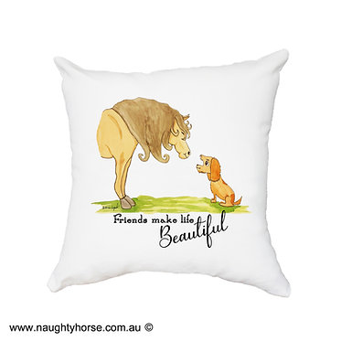 "White cushion cover with zip dream horse and dog with quote ""friends make life beautiful"" image front view"