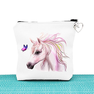 White cosmetic toiletry bag with zipper horse and butterfly image front view