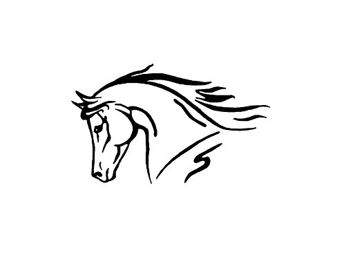 Horse head decal sticker front view