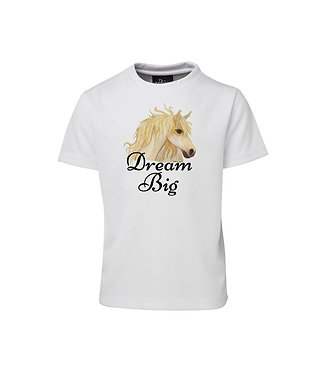 "Kids cotton t-shirt horse and quote ""dream big"" image front view"