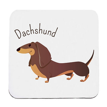 Dog themed neoprene coaster sets with dachshund image front view