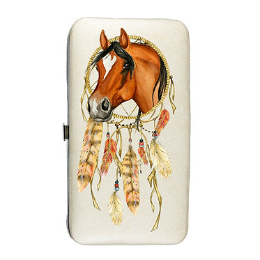 Ladies hard case purse wallet with mobile phone mount inside dream catcher horse image view