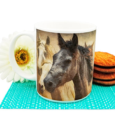 Ceramic coffee mug 11oz with wild horses image front view