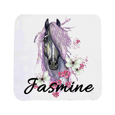 Personalised neoprene drink coaster sets personalised purple horse image front view