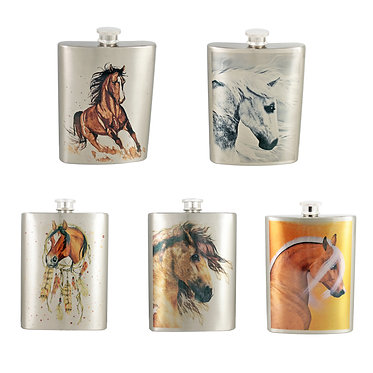 Stainless steel horse theme hip flask 5 designs front view