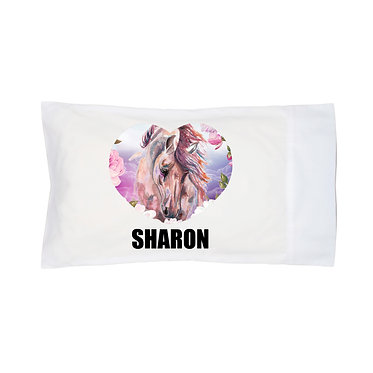 Personalised horse pillow case horse in flowers image front right facing view
