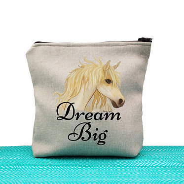 Tan cosmetic toiletry bag with zipper dream big horse image front view