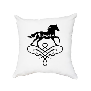 Personalised cushion with zip horse pattern on scroll black image front view