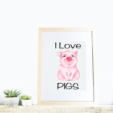 Rectangle wood picture frame i love pigs front view