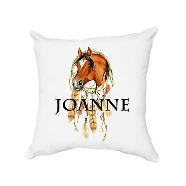 Personalised white cushion with zip dream catcher horse image front view