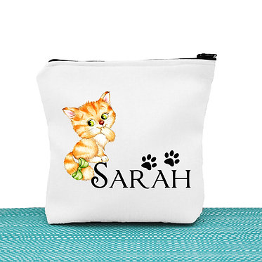 White cosmetic toiletry bag with zipper personalized with name and cute kitty with bow image front view