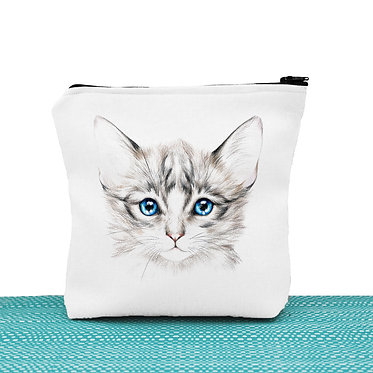 Cat theme cosmetic toiletry bag white blue eyed kitten image front view