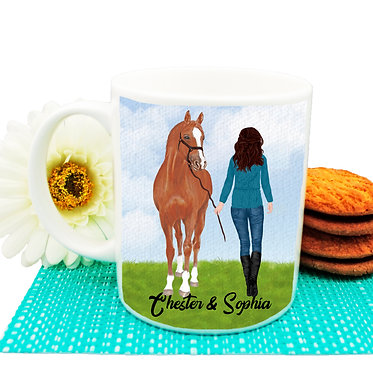 Personalised ceramic coffee mug brown haired girl and horse image front view