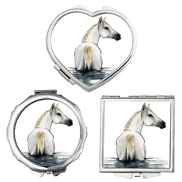 Compact mirrors in 3 shapes heart, round and square white horse in water image front view