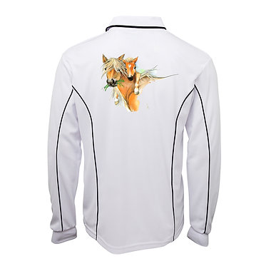 Adults long sleeve polo shirt white mare and foal image back view