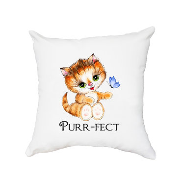 White cushion cover with zip 40cm x 40cm cute kitty purr-fect image front view