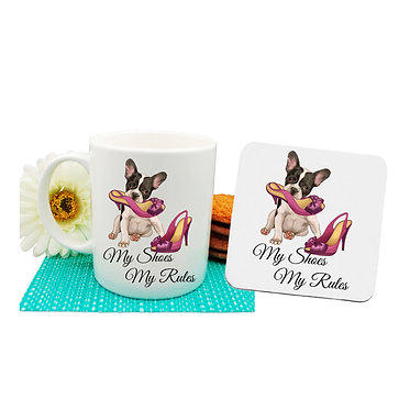 """Dog themed coffee mug and coaster set with dog in shoe """"my shoes my rules"""" image front view"""
