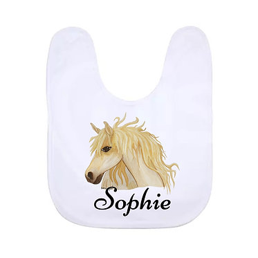 Babies bib white personalized hand painted horse with name image front view