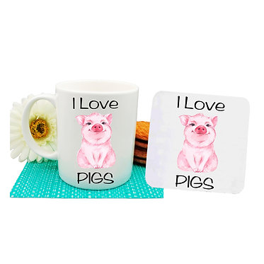 Coffee mug and drink coaster set with i love pigs image front view