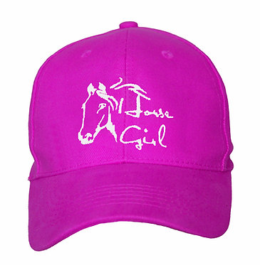 Horse baseball cap horse girl hot pink front view