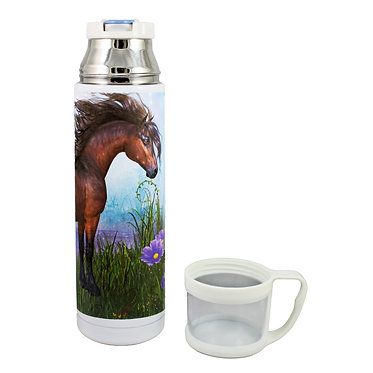 Thermos flask drink travel bottle 500ml stainless steel with cup off horse in forest image front view
