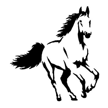 Horse vinyl decal sticker for horse float cantering horse in black front view