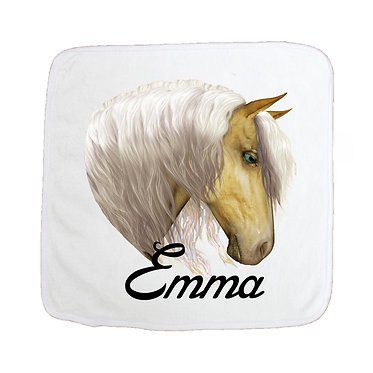 Personalised face washer palomino horse image front view