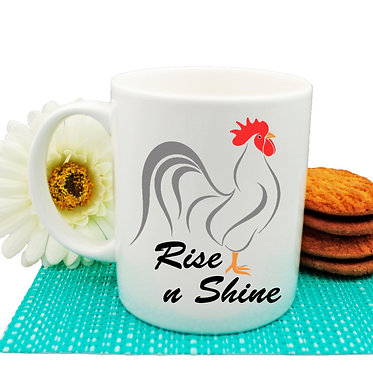 Ceramic coffee mug with rooster image and rise n shine text front view
