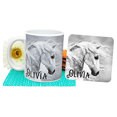 Personalised ceramic coffee mug and coaster set black and white horse front view