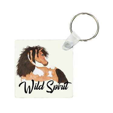 Square metal key-ring wild spirit paint horse image front view
