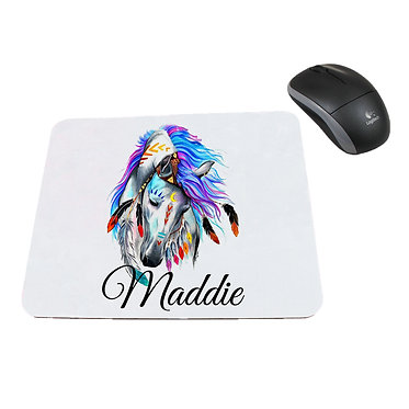 Neoprene computer mouse pad personalised spirit horse image front view