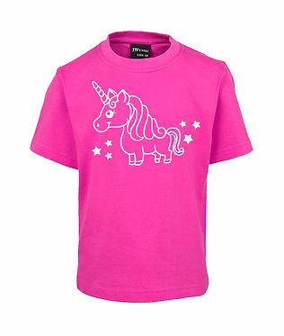 Kids t-shirt hot pink with unicorn and stars image front view
