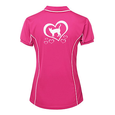 Ladies polo shirt hot pink with white piping and cat with hearts image back view